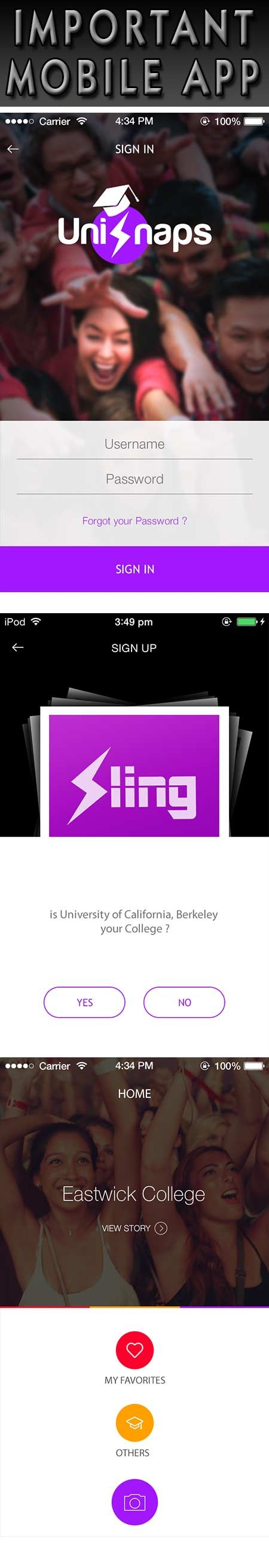 Sling - College Life – It's finally here…  Sling is a social networking app that will enable you to share a story in a unique manner. With Sling you can upload your favorite pictures and videos to your college's stream for your classmates to see. After 24 hours, your shared content will be gone! Poof! Exciting new stories every day!