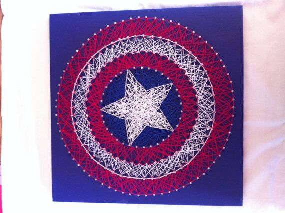 Captain America Shield String Art by Kristiestringart on Etsy