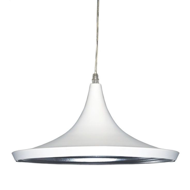 A luxurious wide opening pendant, this single bulb light features a white shade accented on the inside with silver. Requires a single 60W bulb.<br \> <br \> <ul \><li>Number of Light: 1 Light</li><li>...