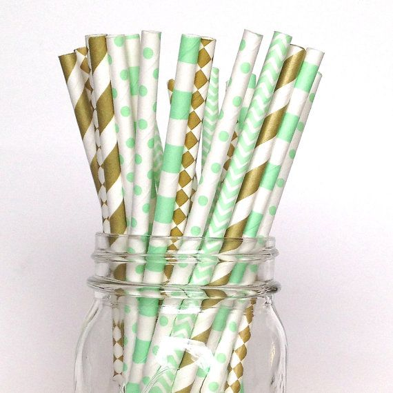 Mint Green Gold Straws gold mint party supply by Twigsandtwirlsllc