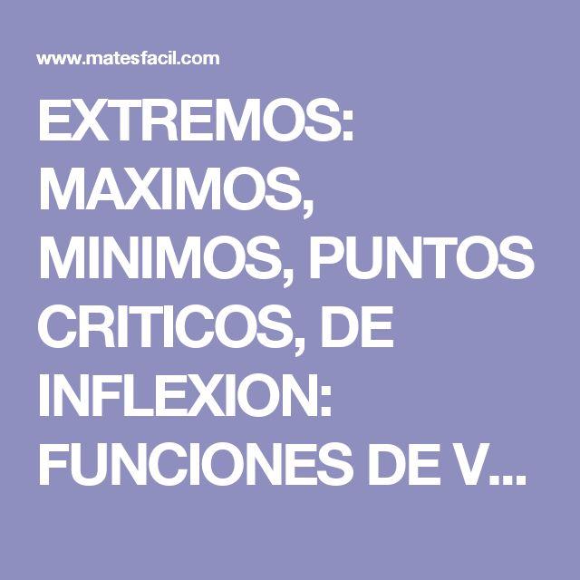 EXTREMOS: MAXIMOS, MINIMOS, PUNTOS CRITICOS, DE INFLEXION: FUNCIONES DE VARIAS VARIABLES: CALCULO DIFERENCIAL: UNIVERSIDAD http://krro.com.mx/
