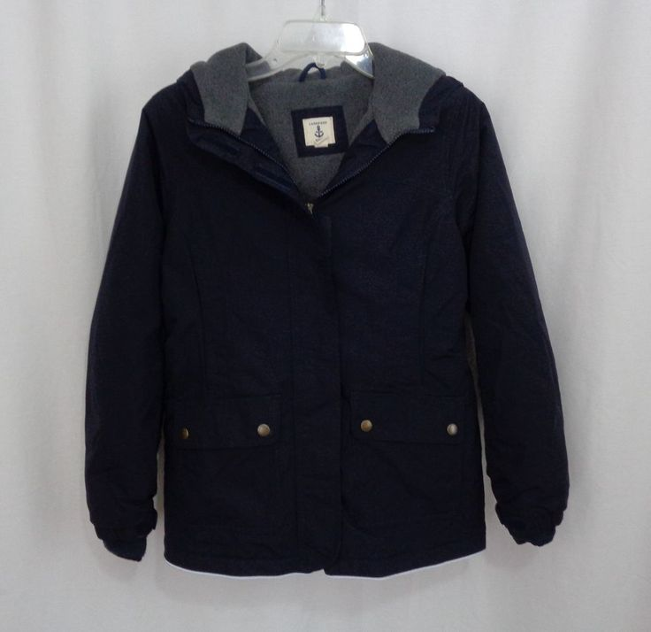 Boys LANDS END Navy Grow-A-Longs Hooded Lined Winter Coat
