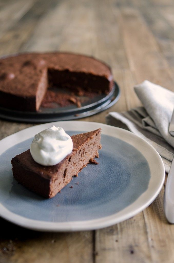 This flourless chocolate cake is light and spongy with a terrific chocolate-almond flavor.  Great on its own or as layers of a frosted cake.