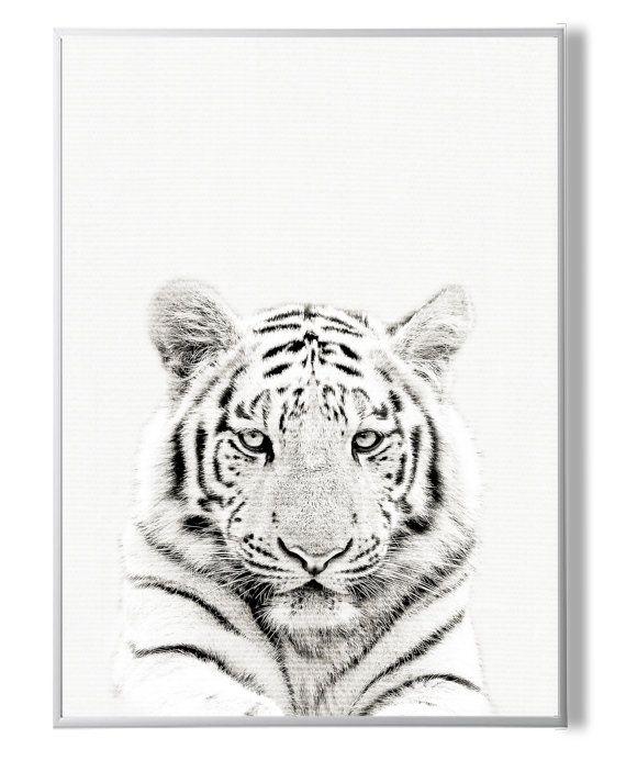 Tiger Print Animal Decor Black White от YourPrintsShop на Etsy