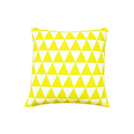 Triangle Print Cushion Cover, Triangle Pillow Cover, Geometric Print Pillow, Yellow Cushion, Yellow Pillow,  Scandinavian Cushion 16 x 16