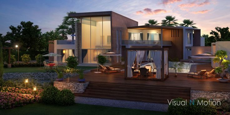 luxury villa landscape mood lighting