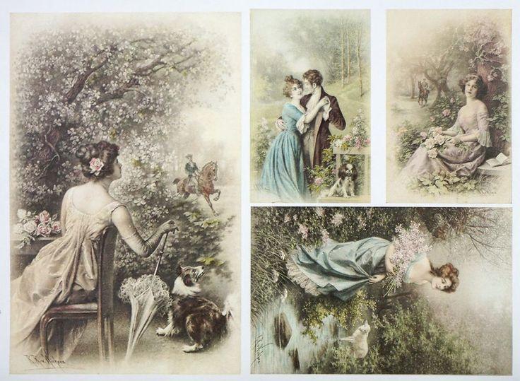A/4 Classic Decoupage Paper Scrapbook Sheet Vintage Love Date