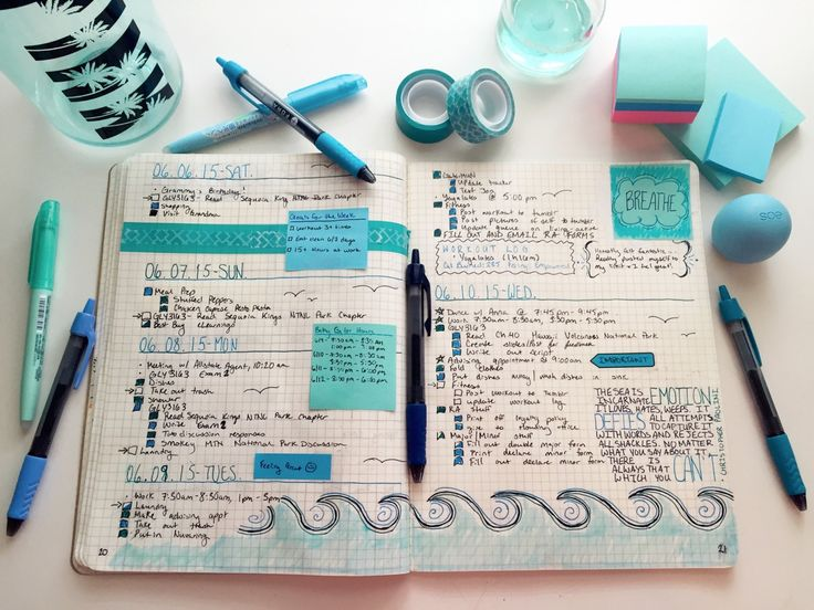 loganstudies:  06.11.15 // 1:30 pm || This week I was feeling a little blue!   I seriously miss the ocean, so I decided to incorporate it into this weeks bullet journal spread. Not only was it therapeutic, but also made me super calm to look at my to do lists and helped me get stuff done fast too, since I just wanted to add more blue! I'm really happy with how it came out.   //please do not delete the caption!!//