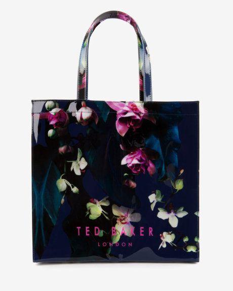 d1634c612cbee9 Large Fuchsia Floral shopper bag - Dark Blue