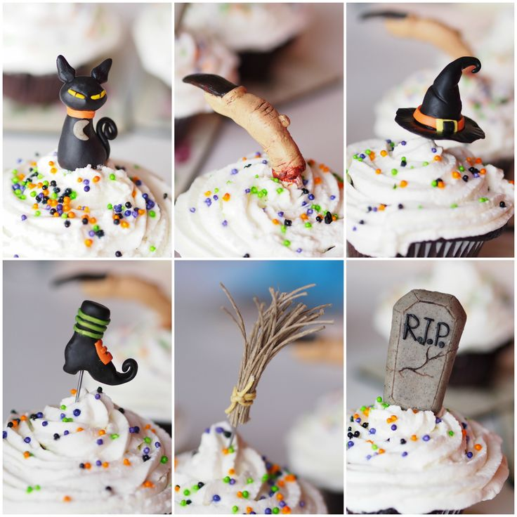 3D Reusable Halloween party cup cakes toppers. Polymer Clay. Set of 6 pcs. Witch theme.