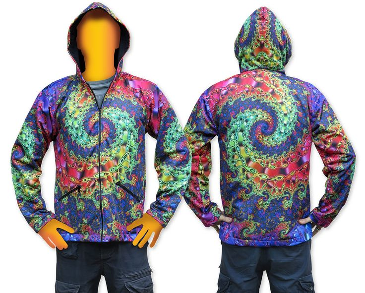 Sublime Hooded Jacket : Whirlpool Fractal.  Printed using sublimation printing on a high quality polyester fleece. This allows for extremely vibrant colors that will never fade away and results in an extremely soft 'feel' to the jacket, providing ultimate comfort. Fully lined with black fabric. 2 outside zip pockets and 2 inside zip pockets. Secret stash pocket label ! Not printed with UV inks, but printed on UV active fabric, so there is some effect under the blacklight.