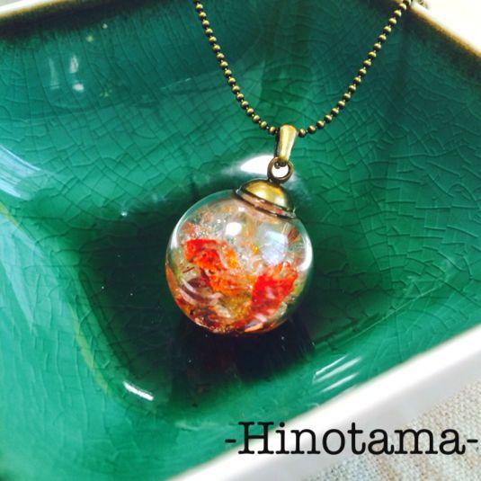【再販】-Hinotama- ガラスドームペンダント by 千波 -Chinami- アクセサリー ネックレス
