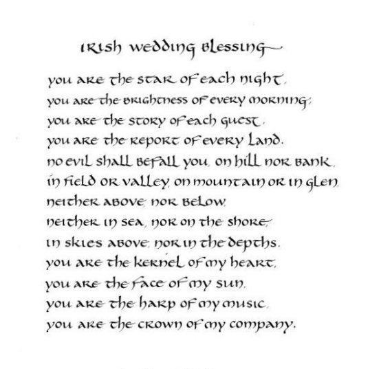 Irish Wedding Blessing - original calligraphy art - 8x10 inches - mat upon request