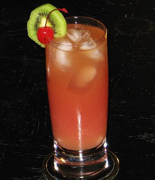 daredevil   1 oz. Bacardi 151  2 oz. Orange Juice  2 oz. Cranberry Juice  2 oz. Pineapple Juice  1 oz. Sprite  1 oz. Myers Dark Rum  Kiwi wheel and/or Cherry to garnish        Directions     Into an ice filled Collins glass, add each ingredient (in the order listed above).  You can leave it somewhat layered, or stir it to any degree that you like.