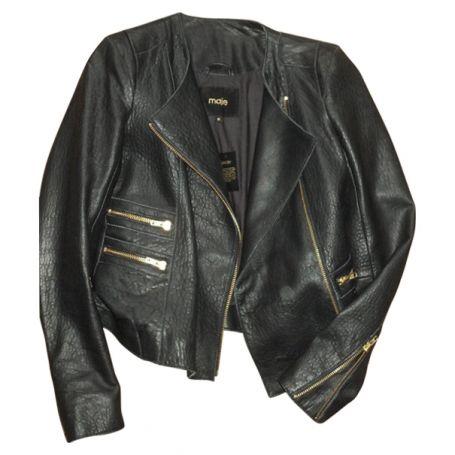 Veste cuir MAJE modèle AUSTRAL. couleur noire taille 38