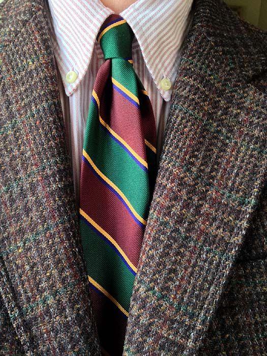 Vintage Redwood & Ross Harris Tweed jacket, Michael Spencer red university stripe OCBD, Ralph Lauren Polo silk tie.