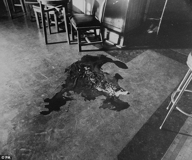 A police photograph showing the blood stains on the floor of the Blind Beggar pub after the killing of George Cornell.