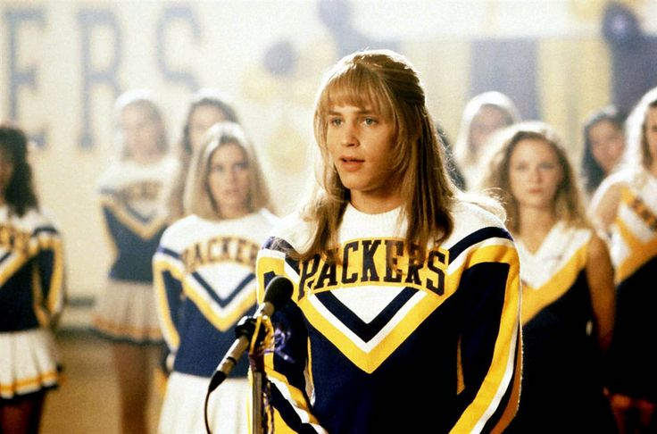 """Scene from the film, """"Just one of the girls"""" here the male character dressed as a girl on the first day of school and ended up on the school's cheerleading team."""