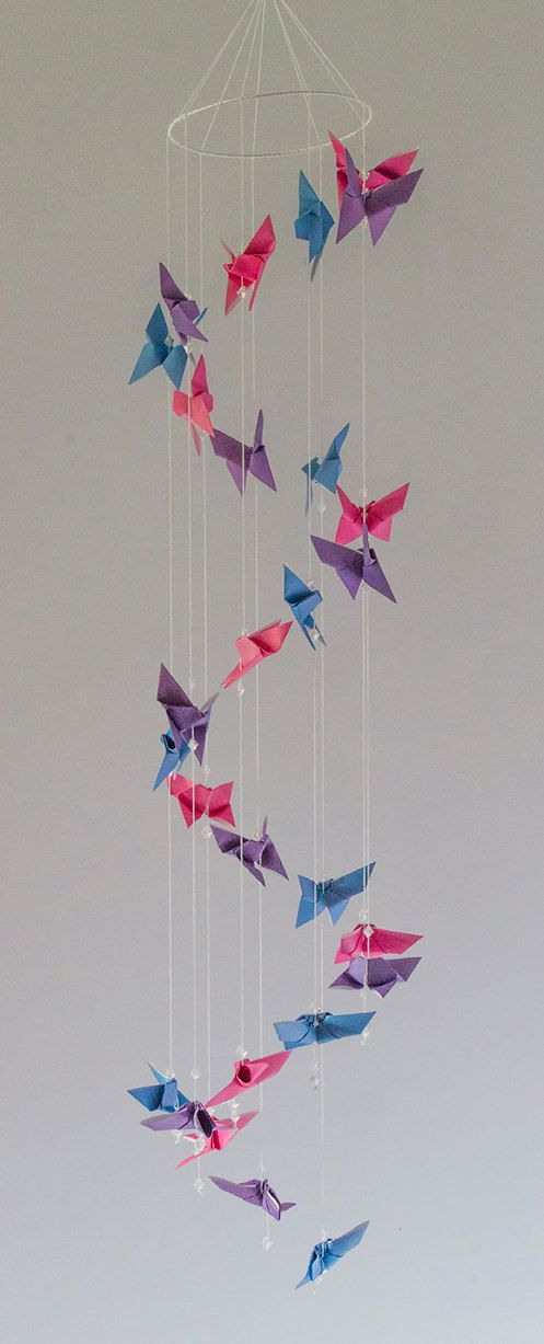 Origami Butterfly Spiral Mobile in 3 colors Pink by kcstudio1