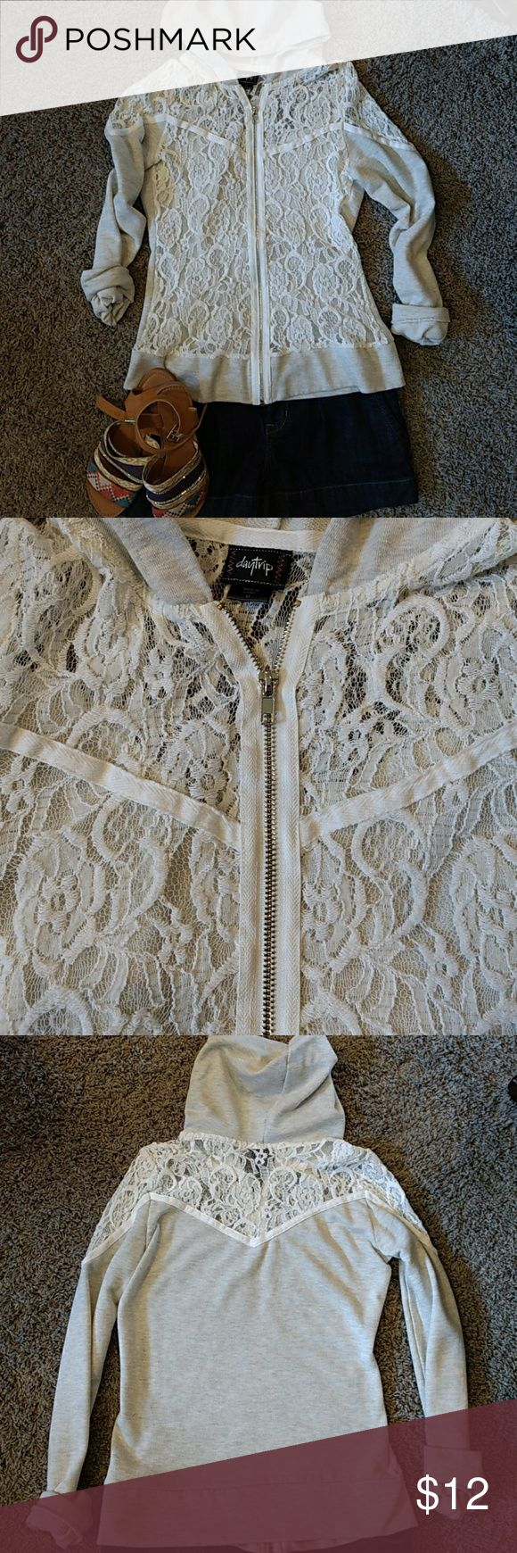 Daytrip lace zip up Cream lace in front and back and arms are comfy Heather Gray. Worn but lots of love left. It's a medium but could also work as a small. Daytrip Tops Sweatshirts & Hoodies