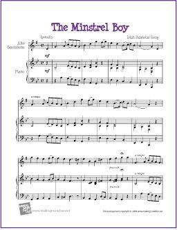 The Minstrel Boy | Celtic Free Sheet for Alto Saxophone - http://www.makingmusicfun.net/htm/f_printit_free_printable_sheet_music/the-minstrel-boy-alto-saxophone-solo.htm