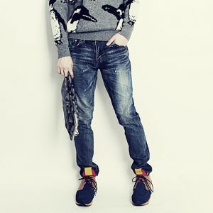 Korea men fashion mall, Hong Chul style [NOHONGCUL.COM GLOBAL] Painting Washing Straight Pants / Size : S,M,L / Price : 80.80 USD #NOHONGCUL_GLOBAL #OOTD #unique #dailylook #denimpants #washingpants