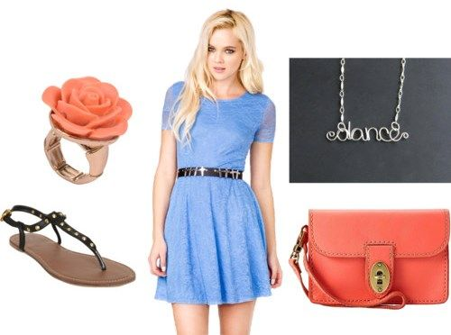 Wedding Outfit - blue dress, coral accessories, sandals