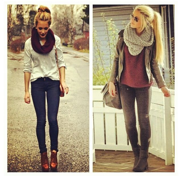 Fall for comfy chic layers and chunky knit scarves.