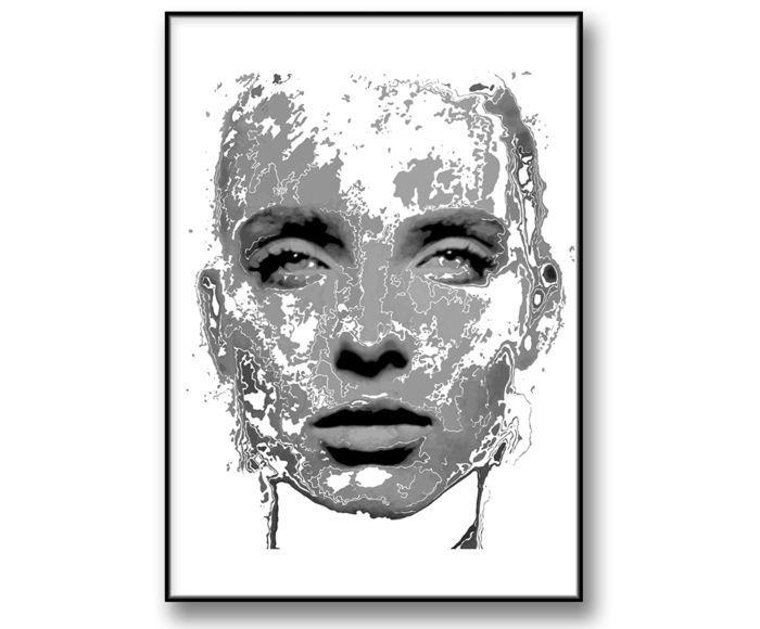 """The Map of Me-Art Girl Poster.""""Kartan över mig"""" En vacker och stilren svartvit konsttavla, poster. Tavla, poster i svartvitt passar utmärkt till modern inredning. Kombinera gärna med våra andra tavlor och fotoposters i samma stil som du hittar under fotokonst kategori. Tavlan med konstnärlig känsla blir ett snyggt inslag i din heminredning."""