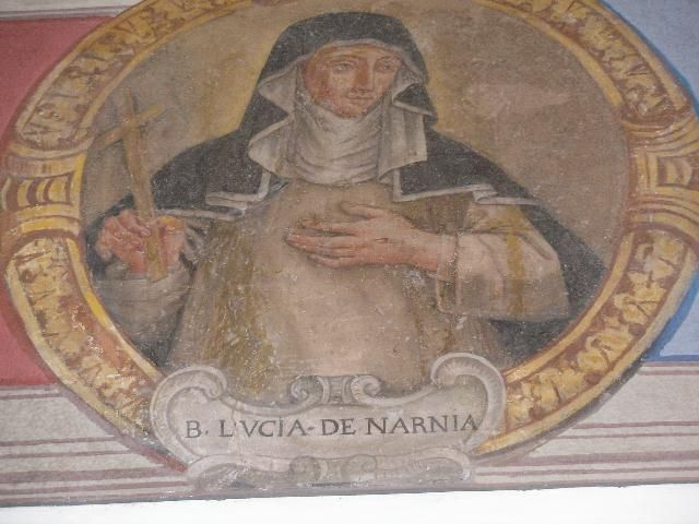A fresco in Narnia depicting Blessed Lucy (https://en.wikipedia.org/wiki/Lucy_Brocadelli#/media/File:BeataLucy.jpg)