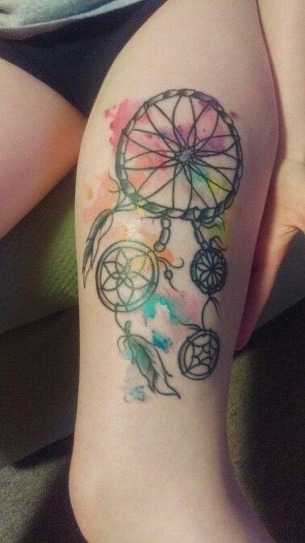 Thigh Watercolor Dreamcatcher Tattoo.