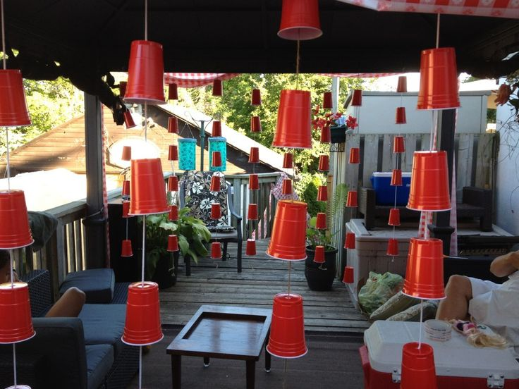 Red solo cup streamers fora redneck party...I could definitely see this happening for a fun party idea!