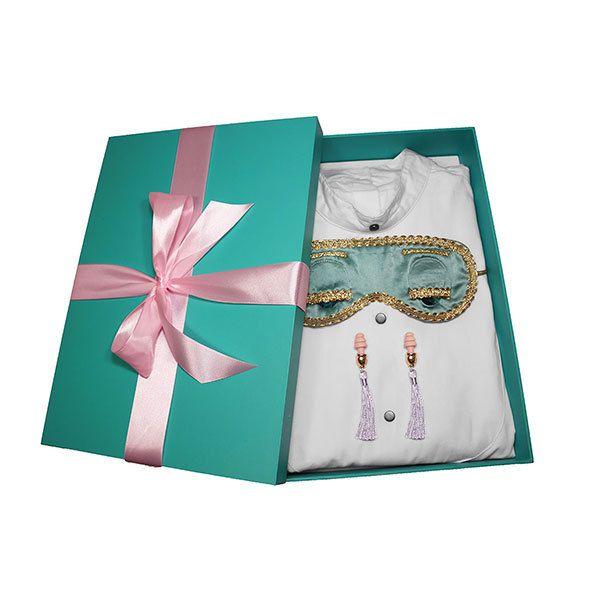 Gift boxed Audrey Hepburn - the Breakfast at Tiffany's Complete Holly Golightly Sleep Set Tuxedo Shirt Silk Eye Mask Tassel Earplugs