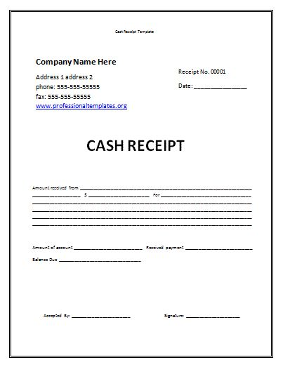 Receipt Template Free Cash Receipt Template