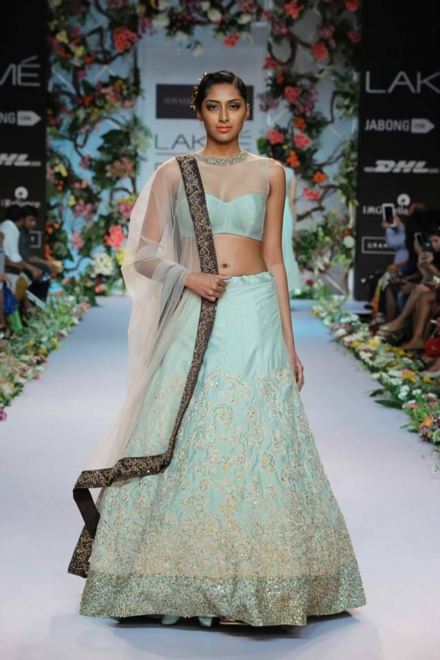 Shyamal & Bhumika Lakme Fashion Week Summer Resort 2014 Indian wedding baby blue green lehnga. More here - http://www.indianweddingsite.com/shyamal-bhumika-lakme-fashion-week-summer-resort-2014/