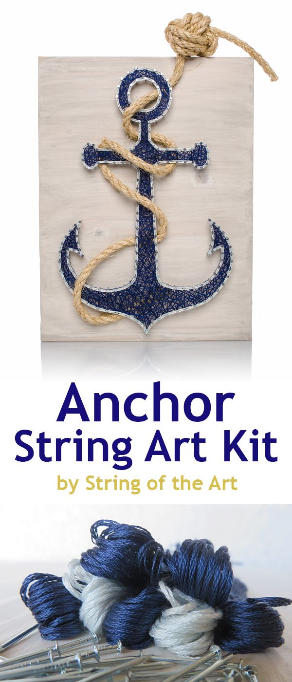 String Art Kit, DIY Crafts Kit, Anchor String Art. Visit www.StringoftheArt.com. This beautiful Kit comes with all the highest quality embroidery floss, metalic wire nails, instructions, a HAND sanded and HAND painted wood board, and a pre-tied monkey fist knotted rope! Anchor String Art, Nautical Decor, Anchor Decor, Home Decor, Crafts Project, Crafts Idea, Nautical Idea