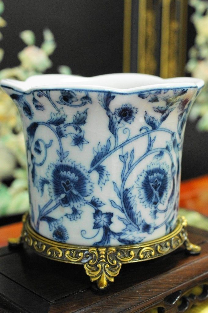 Details About Chinese Oriental Black Porcelain Planter Pot Antiqued Brass Base In 2019 Blue