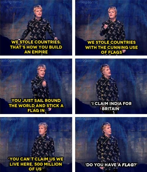 "Eddie Izzard & the cunning use of flags. ""Sorry, no flag, no country!"""