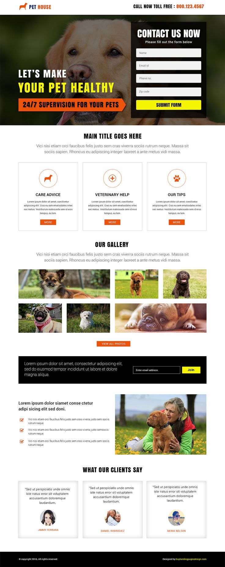 Responsive Animal Pet House Landing Page Template $29 only BuyNow!