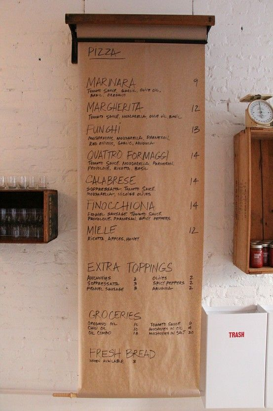 butcher paper sign + trash bin + wine box shelf
