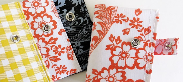 Business card holders using Mexican Oilcloth by pixelsnpieces.com