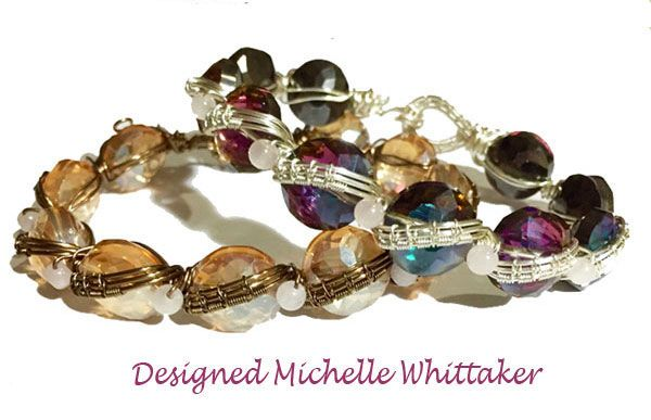 Wire Weave Bracelets in Brass & Silver with Faceted Coin Crystals