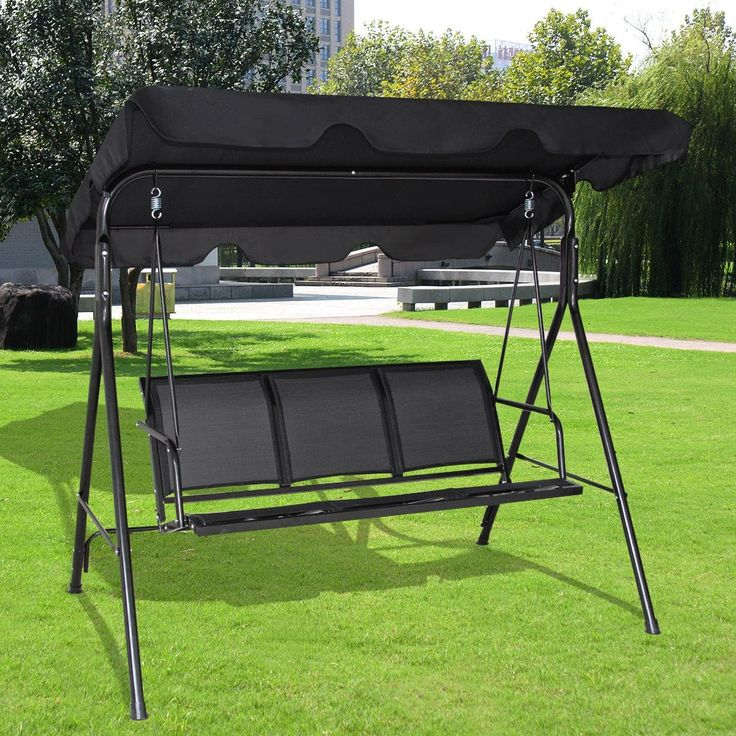 Costway Outdoor Patio Swing Canopy 3 Person Canopy Swing Chair Patio  Hammock Black, Patio Furniture