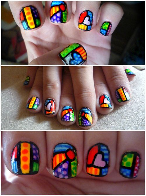 (1) Nail art, Romero Britto | via Tumblr