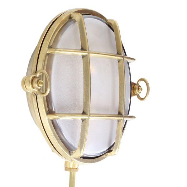 Nautische Außenlampe mit vergittertem Glas Argo *Runde Außenlampe im nautischen Stil, Messing poliert