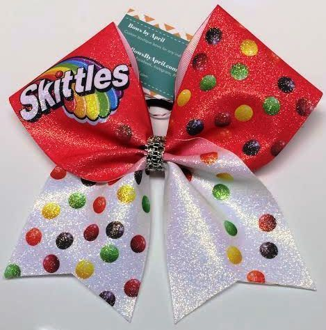 Bows by April - Skittles Full Glitter Cheer Bow, $20.00 (http://www.bowsbyapril.com/skittles-full-glitter-cheer-bow/)