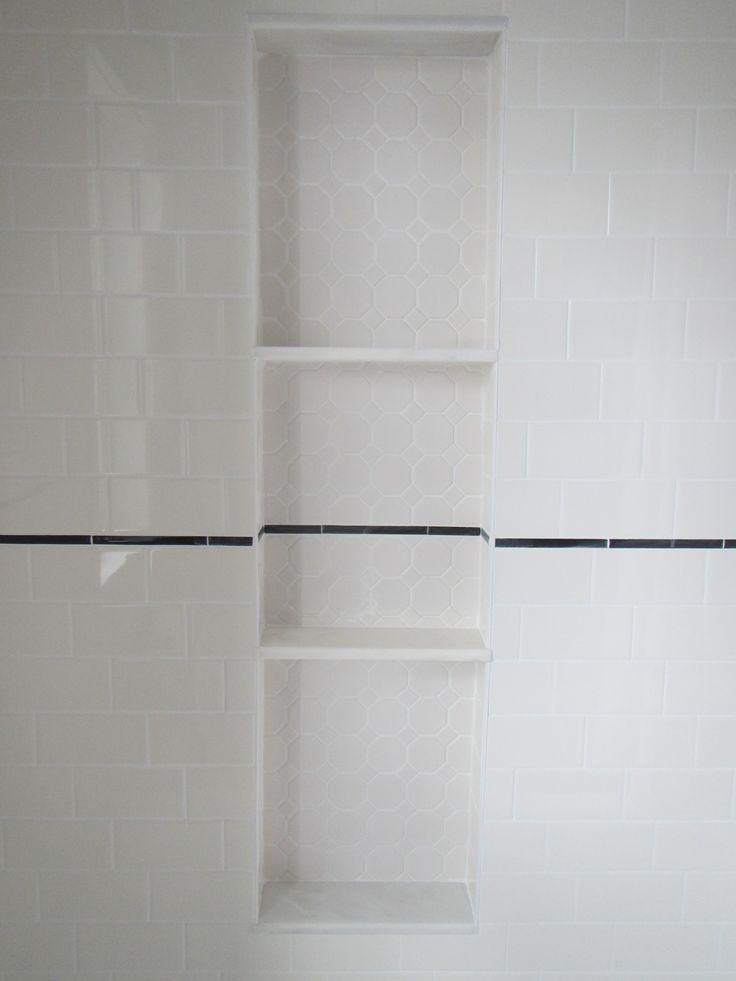My bathroom reno shower niche alcove with hexagon tile for Marble bathroom shelf