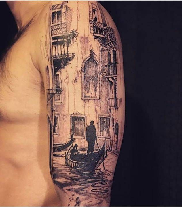 Sketch work style Venice inspired tattoo on the left upper arm. Tattoo Artist: L'oiseau · Franck Soler