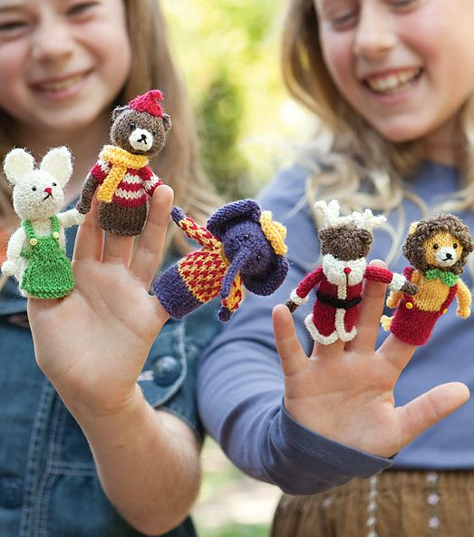 Free Knitting Pattern for Menagerie Puppets with Free Trial - Five dressed-up animal finger puppets including elephant, lion, bear, bunny and reindeer. Designed by Monica Rodriguez Fuertes. Pattern available for free with a free trial at Creativebug.