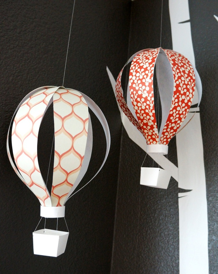 hanging hot air balloon; paper sculpture / room decor / mobile.